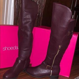 NEW Shoedazzle Bordeaux over-knee boots